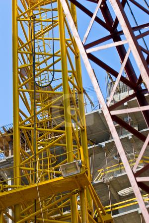 Construction stock photo, Building series: site under construction lifting crane technics by Gennady Kravetsky