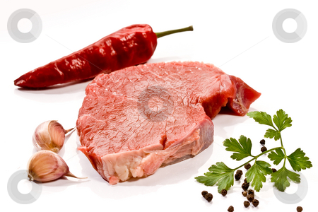 Beef stock photo, Food serias: raw fresh meat with garlic and parsley by Gennady Kravetsky