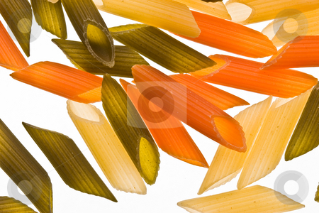 Macaroni stock photo, Assorted colours pasta over white background, colored macaroni by Gennady Kravetsky