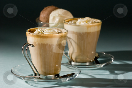 Dessert stock photo, Drink series: coffee with cream and ice cream by Gennady Kravetsky