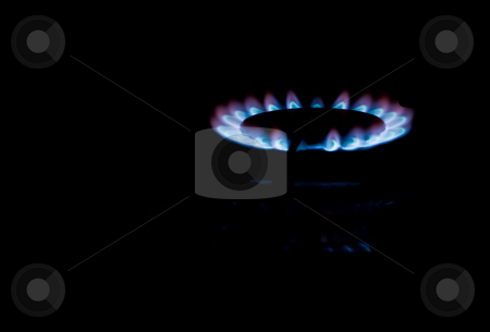 Gas stock photo, Kitchen series: flame of gas cooker burner by Gennady Kravetsky