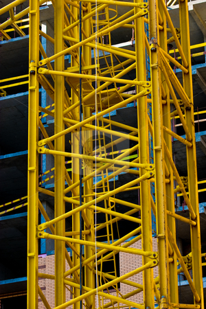 Construction stock photo, Building series: site under construction lifting crane technics by Gennady Kravetsky