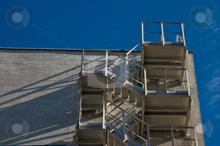 Stairs stock photo, Architecture series: white building with safety stairs by Gennady Kravetsky
