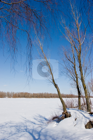 Winter landscape stock photo, View series: cold winter iced river landscape by Gennady Kravetsky