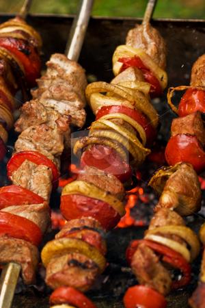 Shashlik (kebab) stock photo, Food series: cooking meat with vegeatble, kebab by Gennady Kravetsky