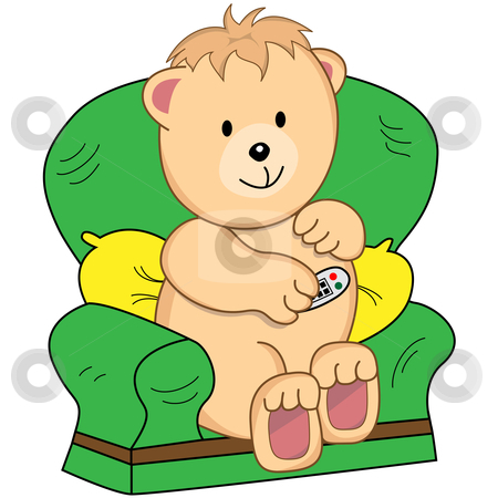 Bear Sat in Armchair Cartoon Character - Vector Illustration  stock vector clipart, Bear sitting in an armchair holding a TV remote control. Assumption is he is watching television. Cute cartoon character. by toots77
