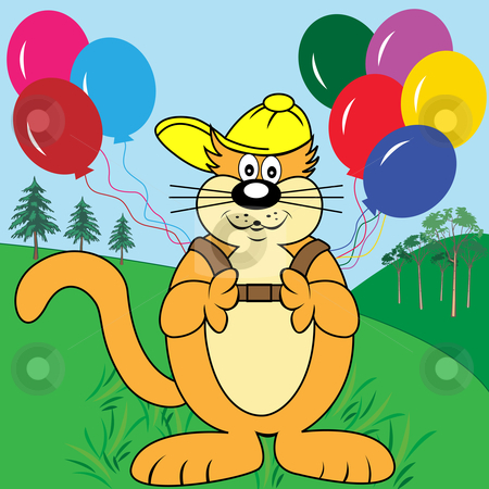 Cat with Balloons in Park Cartoon Character - Vector Illustration stock vector clipart, Cute cat cartoon character in the park with a backpack of colorful balloons wearing his yellow baseball cap. by toots77