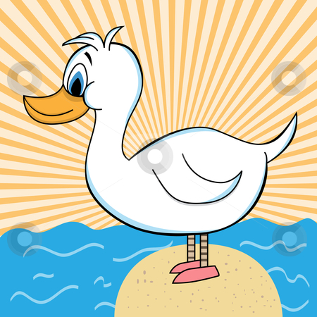 Duck out of Water Cartoon Character - Vector Illustration stock vector clipart, White duck cartoon character standing on a rock surrounded by the ocean. Orange sunburst background. by toots77