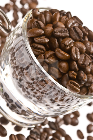 Coffee stock photo, Beverage series: coffee beans in a glass cup by Gennady Kravetsky