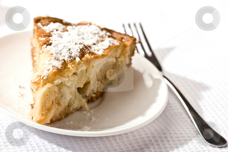 Apple pie stock photo, Food serias: apple-pie on the plate with icing sugar by Gennady Kravetsky