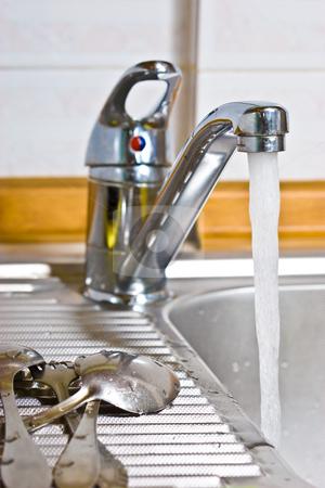 Sink stock photo, Kitchen series: kitchen steel sinr with tap by Gennady Kravetsky
