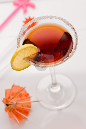 Cocktail with cherry stock photo, Drink series: red cockatil with shugar and lemon by Gennady Kravetsky
