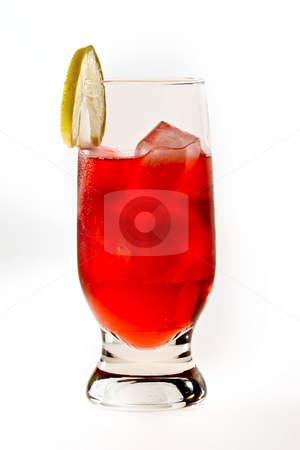 Red cocktail stock photo, Drink series: red cocktail with ice and lemon by Gennady Kravetsky