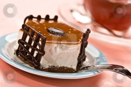 Fancy cake stock photo, Food series: fancy cake with chocolate, macro picture by Gennady Kravetsky