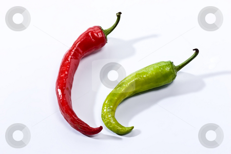 Pepper stock photo, Green and red pepper on the white background by Gennady Kravetsky