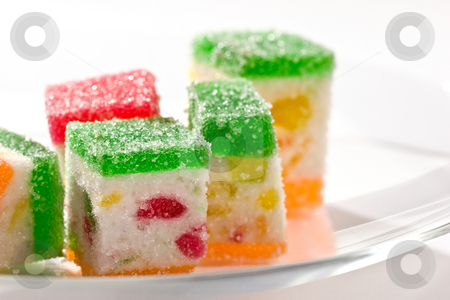 Fruit jelly  stock photo, Macro picture of Slices fruit jelly with sugar by Gennady Kravetsky