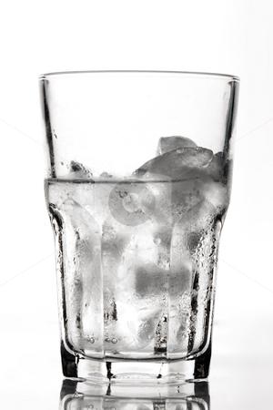 Ice for cocktail  stock photo, Ice in the glass for cocktail over white by Gennady Kravetsky