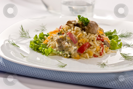 Italian risotto stock photo, Italian risotto with mushrooms and paper for dinner by Gennady Kravetsky