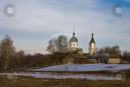 Rural landscape stock photo, View series: rural early spring landscape with church by Gennady Kravetsky