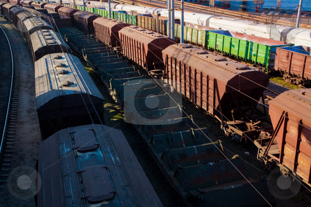 Freight car stock photo, Transport series: freight car on the railroad station by Gennady Kravetsky