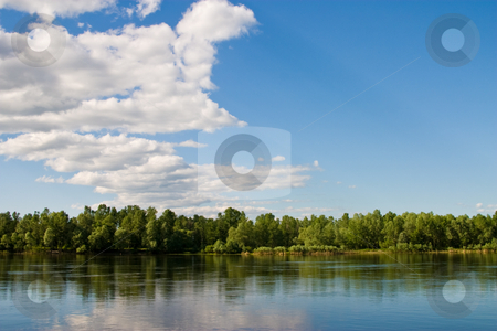 Landscape stock photo, Landscape series: river and forest ander blu cloudy sky by Gennady Kravetsky