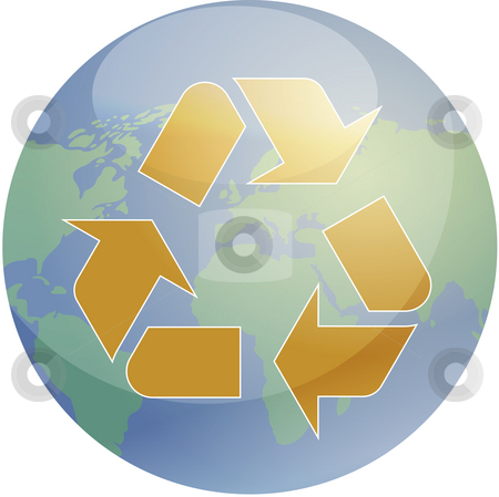 Recycling eco symbol stock photo, Recycling eco symbol illustration of three pointing arrows over world globe map by Kheng Guan Toh