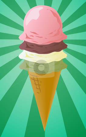 Ice cream cone illustration stock photo, Ice cream cone illustration, three scoops on radial burst background by Kheng Guan Toh