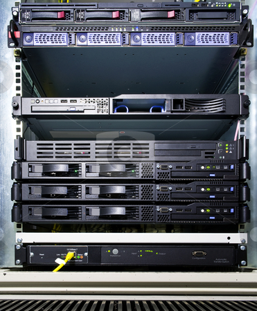 Server configuration stock photo, Extensive server configuration in a rack at a data center by Corepics VOF