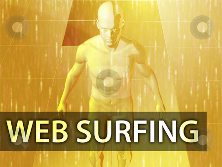 Web surfing illustration stock photo, Web surfing illustration, digital virtual avatar abstract by Kheng Guan Toh