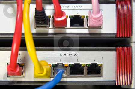 Firewall appliance stock photo, Outlets on firewall appliances for a local area network by Corepics VOF