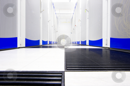 Data center suite stock photo, Clean suite in a data center with the perforated doors of server racks by Corepics VOF