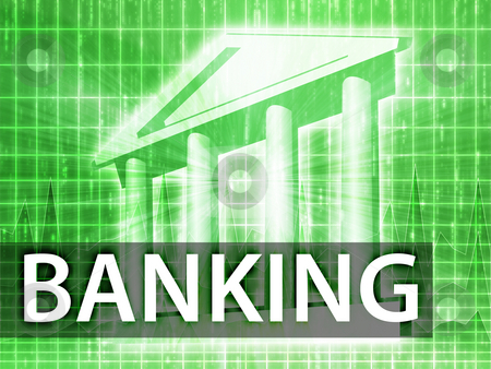 Banking illustration stock photo, Banking illustration, financial diagram with bank building by Kheng Guan Toh