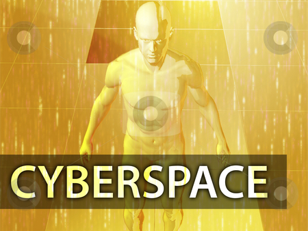 Cyberspace illustration stock photo, Cyberspace illustration, digital virtual avatar abstract by Kheng Guan Toh