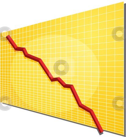 Financial chart stock photo, Financial line chart on grid background, going down by Kheng Guan Toh