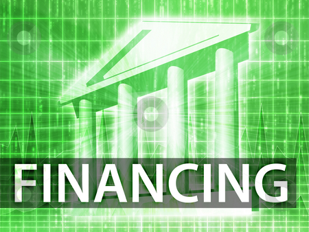 Financing illustration stock photo, Financing illustration, financial diagram with bank building by Kheng Guan Toh