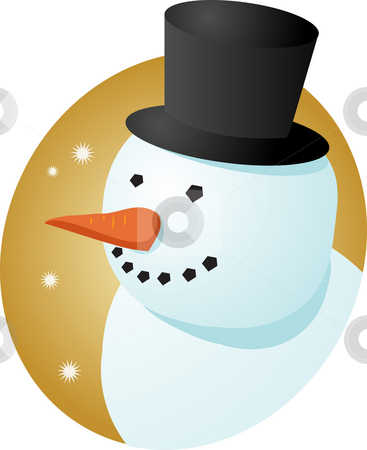 Smiling snowman stock photo, Smiling cheery snowman in tophat, winter scene illustration by Kheng Guan Toh