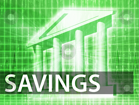 Savings illustration stock photo, Savings illustration, financial diagram with bank building by Kheng Guan Toh