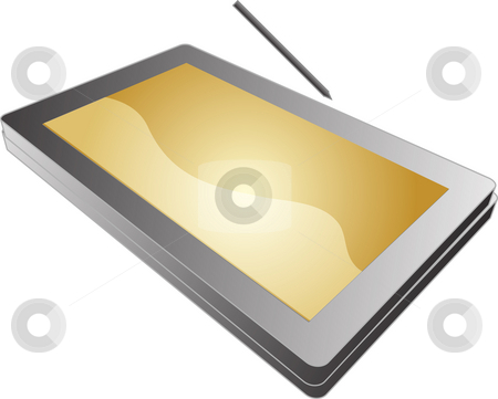 Tablet pc notebook stock photo, Tablet PC notebook open with screen, 3d isometric illustration by Kheng Guan Toh