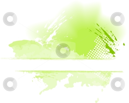 Green grungy color splash with space for text stock vector clipart, Grungy paint splash in shade of green isolated on white with halftone pattern, space for text. Use of blends, global colors. Artwork grouped. by Ina Wendrock