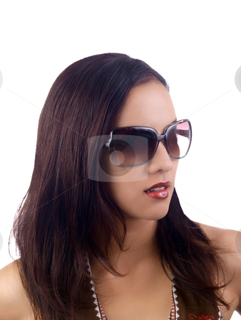 Young hispanic woman portrait with sunglasses stock photo, Young latina woman portrait with sunglasses by Jeff Cleveland