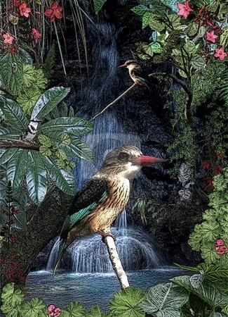 Kingfisher bounty stock photo, A multitude of art effects polish this kingfisher montage to give an almost aged or timeless look by Angie Wilken