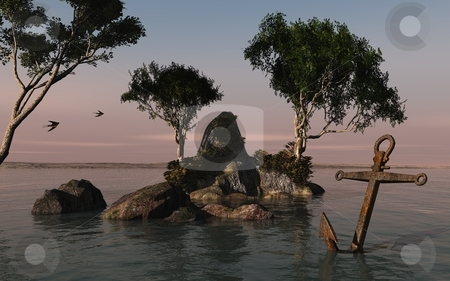 Anchor bay stock photo, 3d art composition, tranquil anchor bay with a seductive setting by Angie Wilken