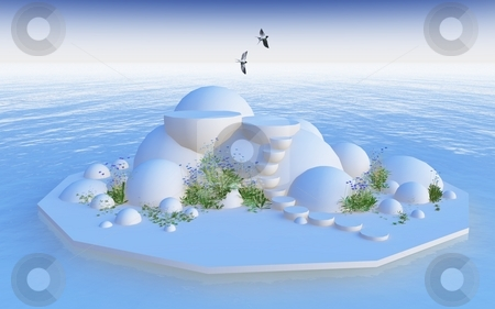 Pure tranquility stock photo, 3d design representing freedom, purity, tranquility and cleanliness by Angie Wilken