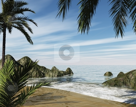 Secluded shore stock photo, 3d secluded shore, drift away and own your own private beach by Angie Wilken