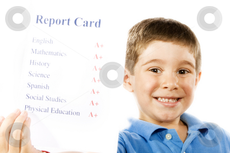 Good student stock photo, Stock photo of child holding report card, all a+'s, isolated on white by iodrakon