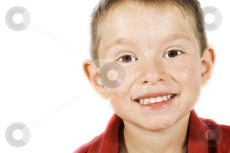 Cute kid stock photo, Stock image of caucasian child smiling isolated on white by iodrakon