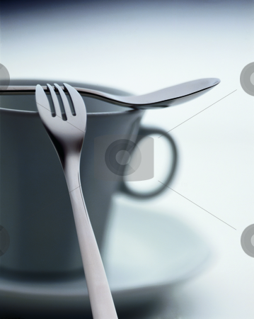 Fork, spoon, cup stock photo, Still-life with a fork, spoon and cup by Andreas Brenner