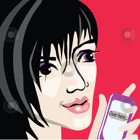 Cell phone girl stock vector clipart, A pretty woman holding a cell phone that has a text message of