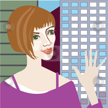 City Girl stock vector clipart, An attractive friendly looking woman waves before a cityscape background. by Maggie Bates