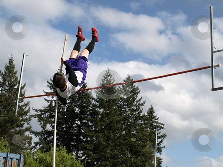 River High Vaulter stock photo, Local Track and Field Event between rivals Columbia River High School and visiting team Hudson?? by Robert Gebbie